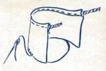 couture du fond, couture verticale, ourlet pour cordelette