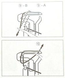 schéma de l'enfilage du boucleur inférieur