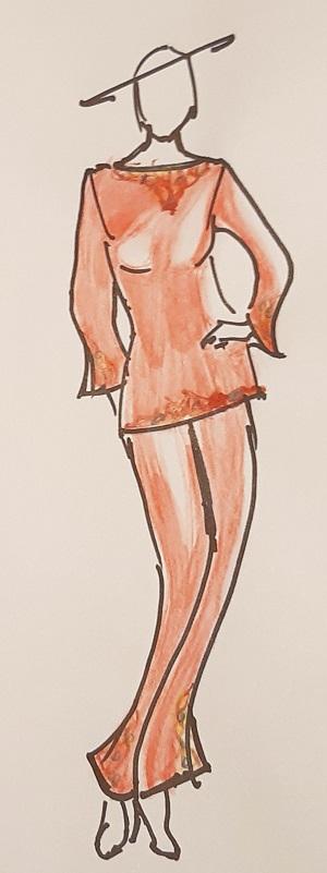 Dessin de l'ensemble tunique pantalon réalisé par Anya Camau
