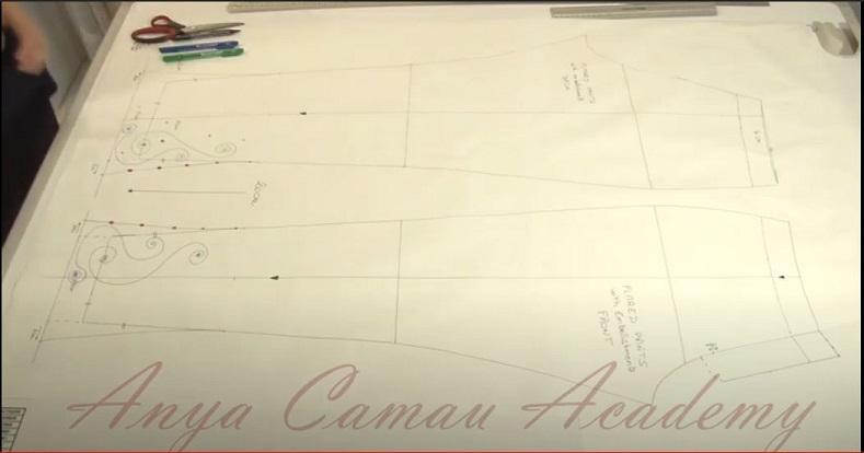 Capture d'écran de la vidéo d'Anya au sujet de la modification du patron de base du pantalon