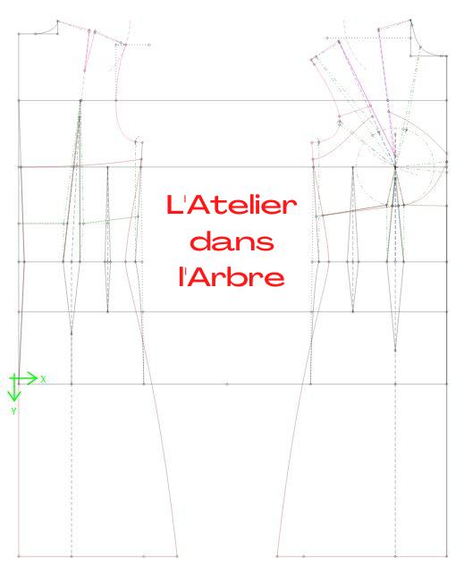 Buste de base, dos et devant + contouring + patron de nuisette